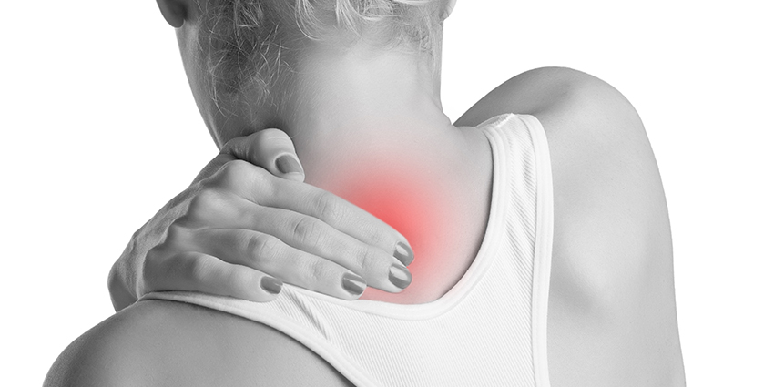 Woman with neck pain or neckache