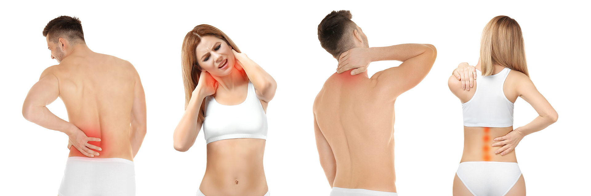 Man and woman in underwear having back pain or backache and neck pain or neckache